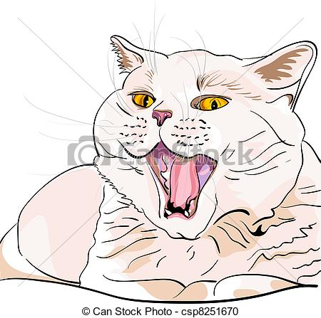 Vector Clipart of vector British shorthair lilac cat screaming.