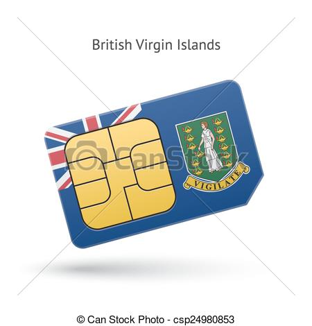 Clipart Vector of British Virgin Islands phone sim card with flag.
