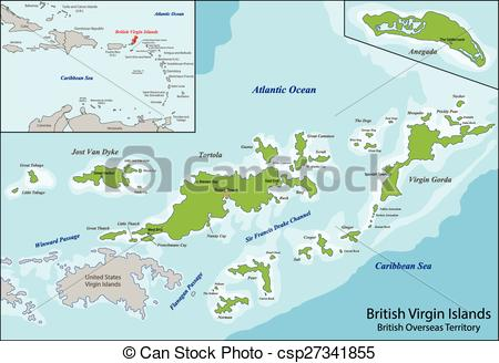Clipart Vector of British Virgin Islands map.