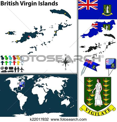 Clipart of Map of British Virgin Islands k22017832.