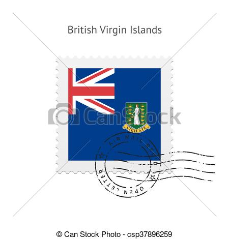 Clipart Vector of British Virgin Islands Flag Postage Stamp.