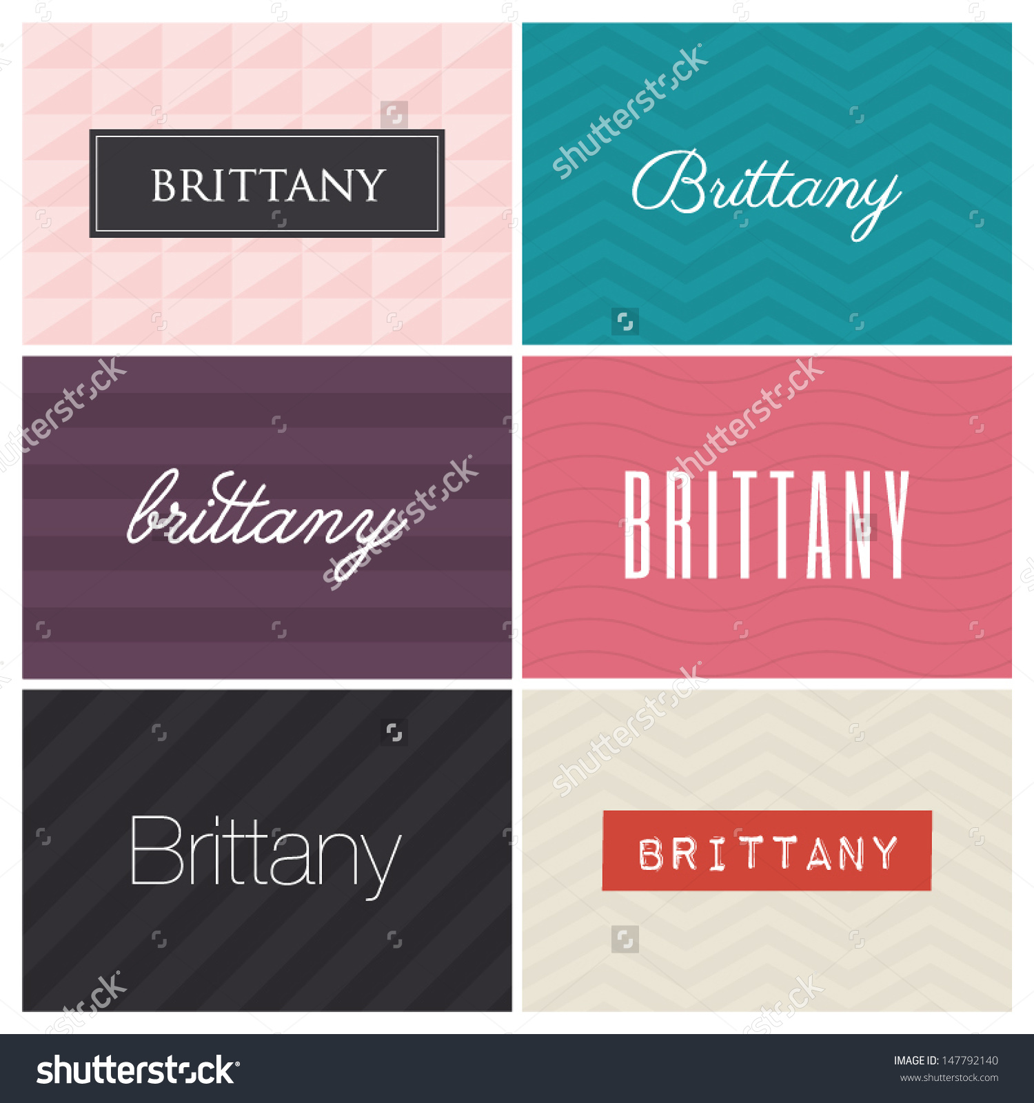 Brittany Name , Graphic Design Elements Stock Vector Illustration.