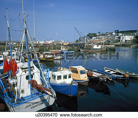 Stock Photography of England, Devon, Brixham, Small craft at.