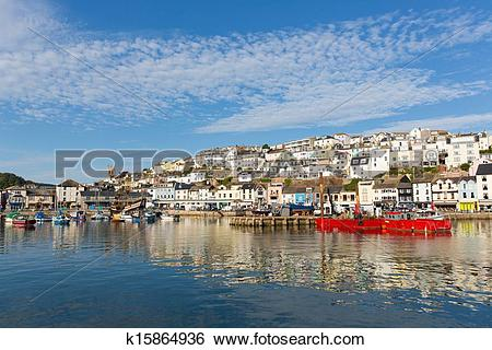Stock Images of Brixham harbour Devon with hillside k15864936.