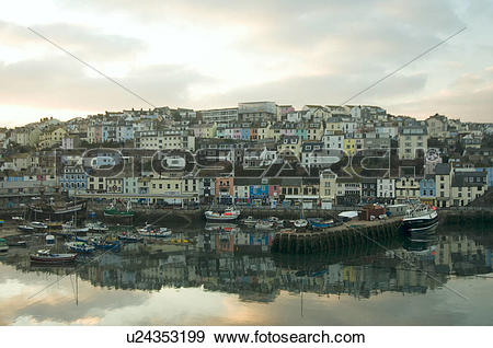Stock Photograph of England, Devon, Brixham. Reflections in.