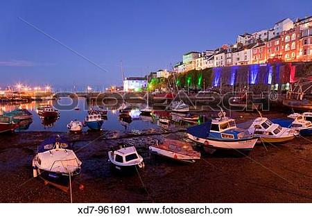 Stock Photography of England Devon Brixham Marina at night xd7.