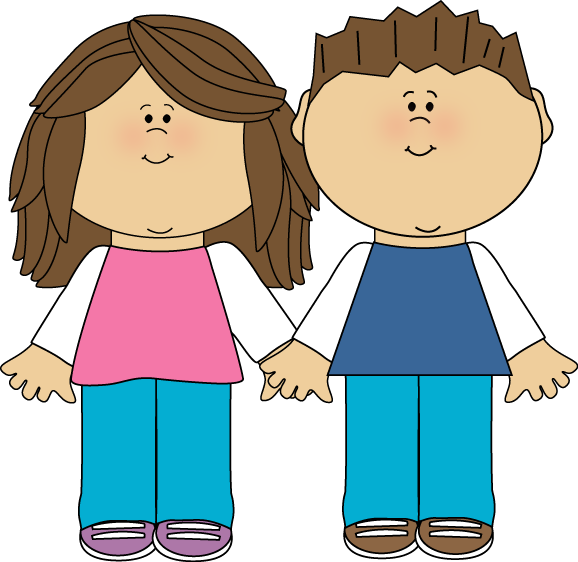 Brother and Sister Clip Art Image.