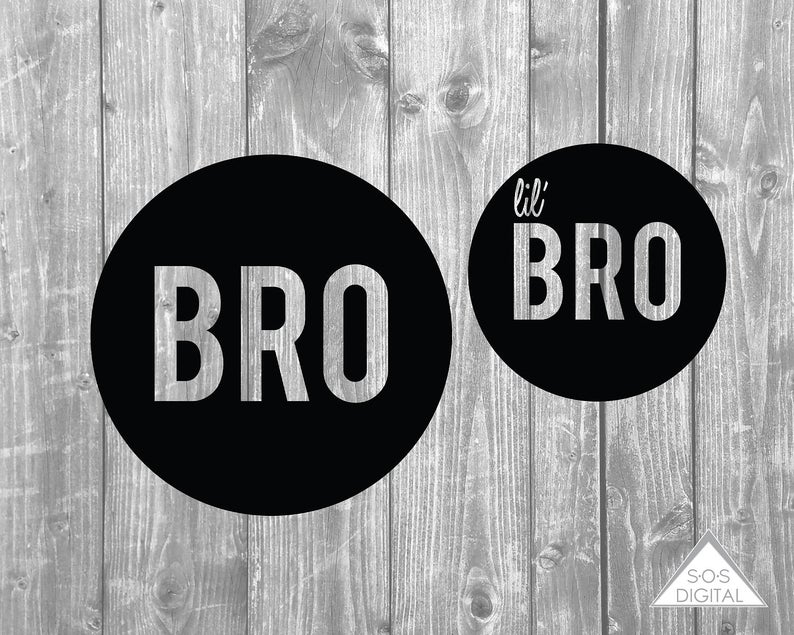 Bro and Lil Bro PNG Files, SVG, Clipart, Little Brother, T shirt Design,  Cricuit, Silhouette, Small Commercial Use OK, Brother Set, Reversed.