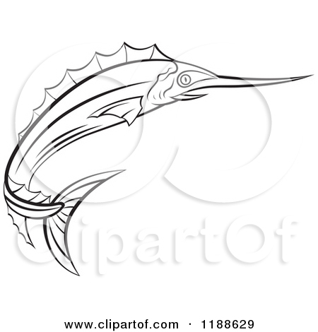 Clipart of a Black and White Swordfish.
