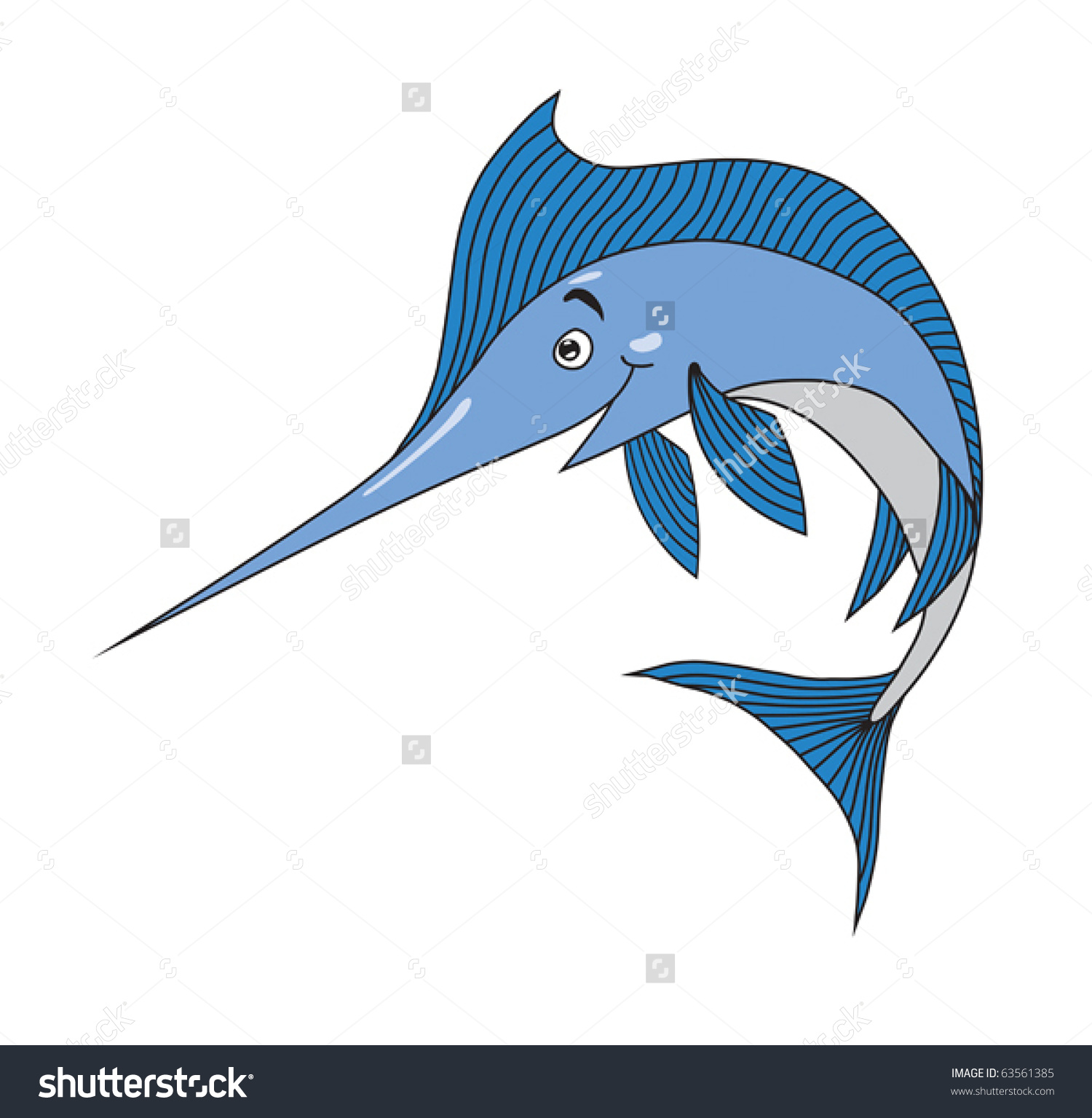 Swordfish Cartoon Vector Illustration Stock Vector 63561385.