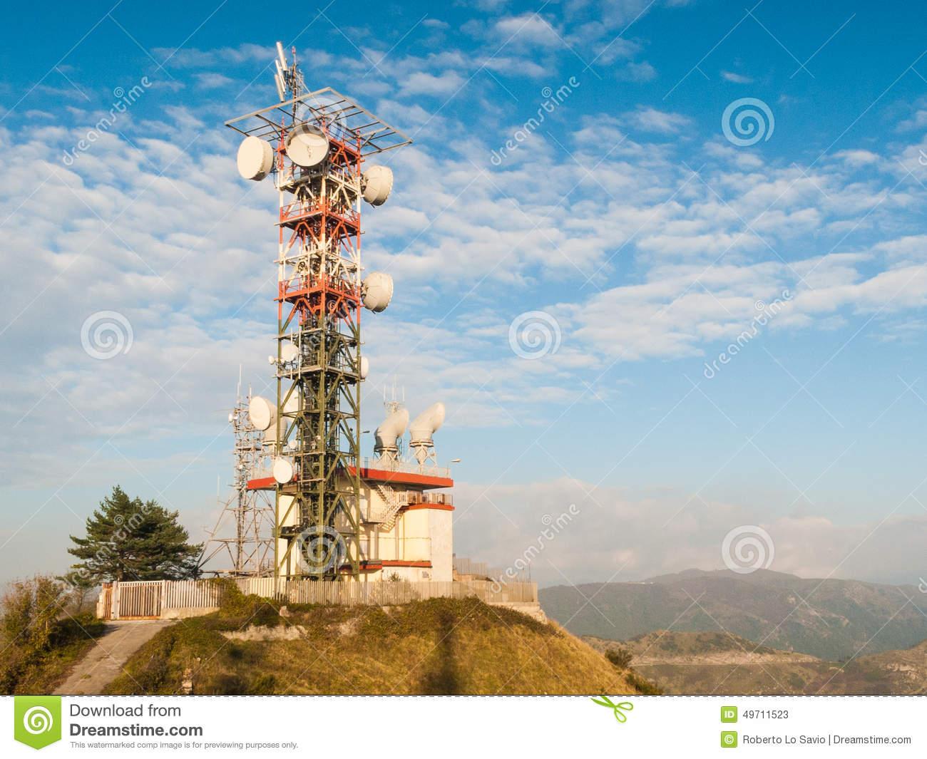 Broadcast Relay Station Stock Photo.