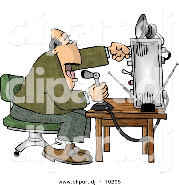 Clipart of a Cartoon Man Talking over Radio at an Old Broadcast.