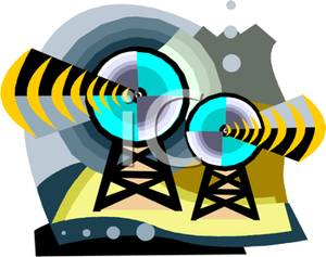 Broadcasting Satellite Dishes Clip Art Image.