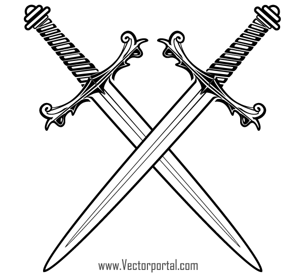 Crossed Medieval Sword Clipart.