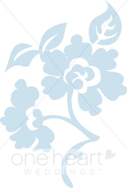 Blue Brocade Flower Clipart.