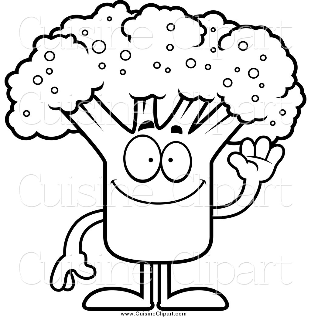 Broccoli Black And White Clipart.