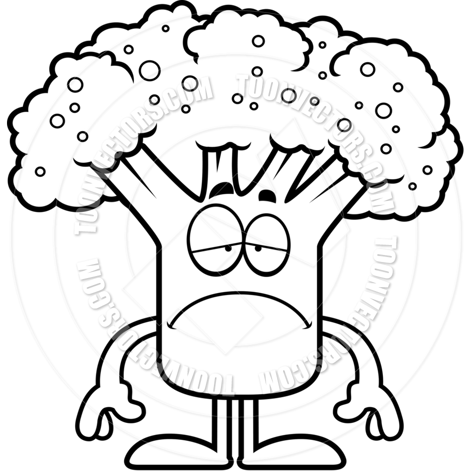 Sad Cartoon Broccoli (Black and White Line Art) by Cory Thoman.