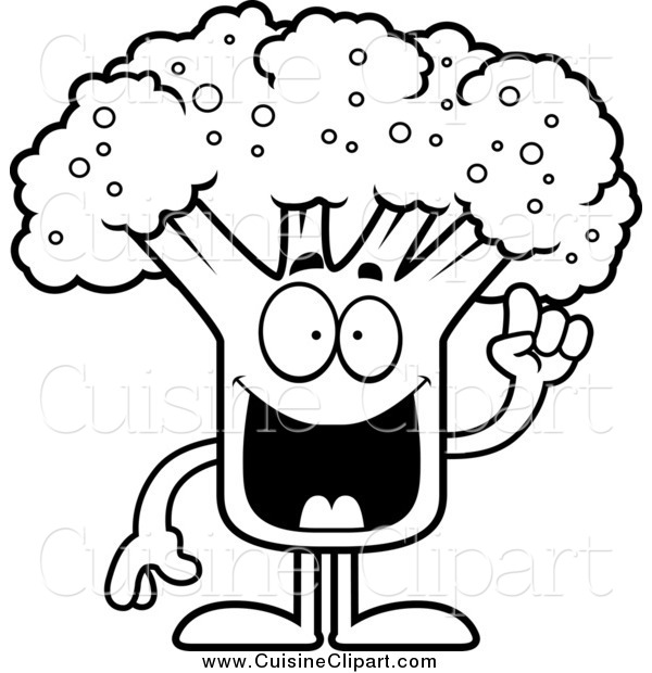 Cuisine Clipart of a Black and White Broccoli Mascot with an Idea.