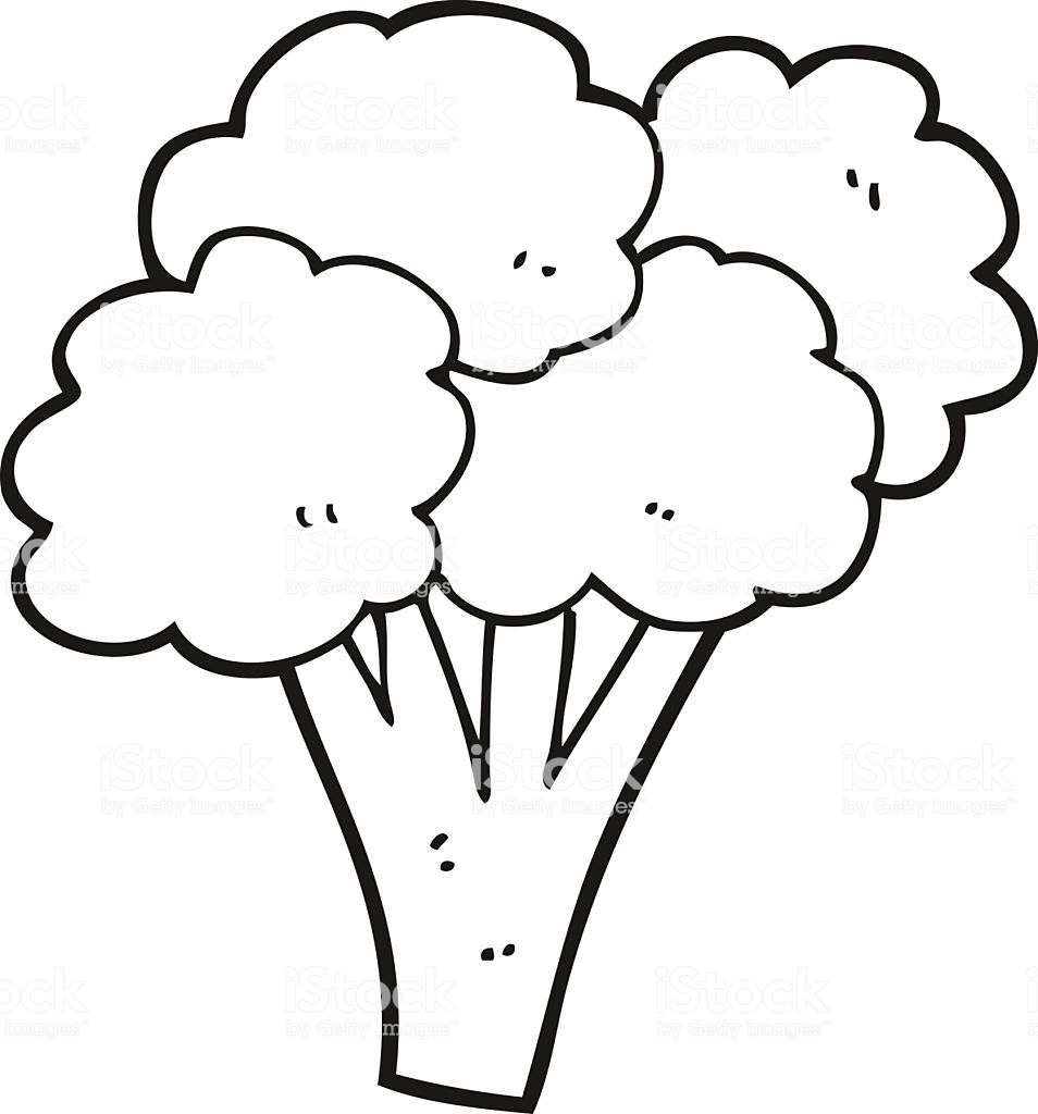 Black And White Cartoon Broccoli Stock Illustration.
