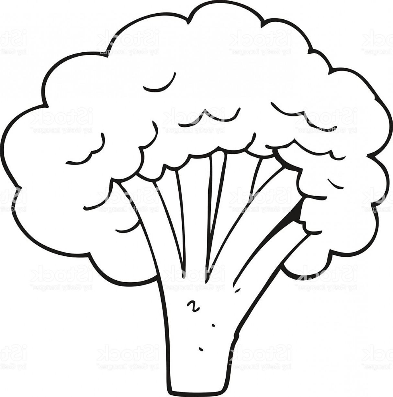 Black And White Cartoon Broccoli Gm.