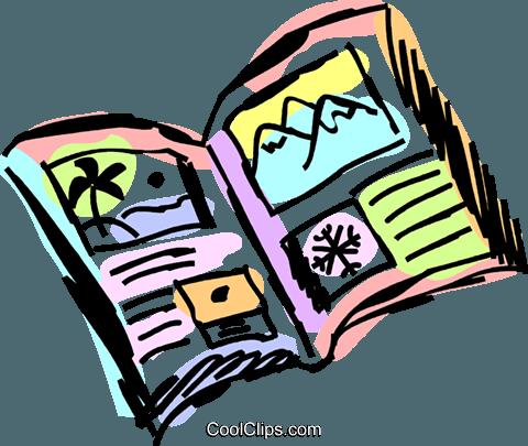Travel Brochures Royalty Free Vector Clip Art illustration.