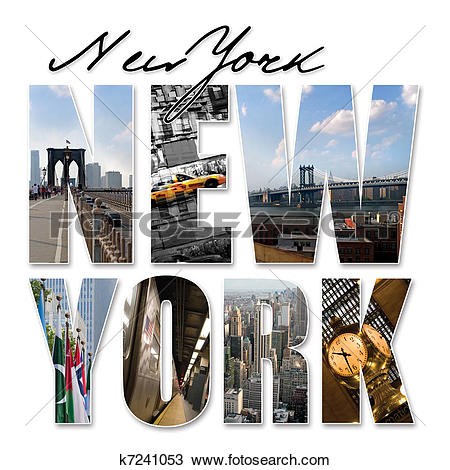 Drawing of NYC New York City Graphic Montage k7241053.