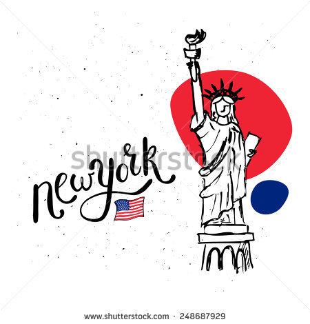 New York Statue Liberty Vector Doodle Stock Vector 248687929.