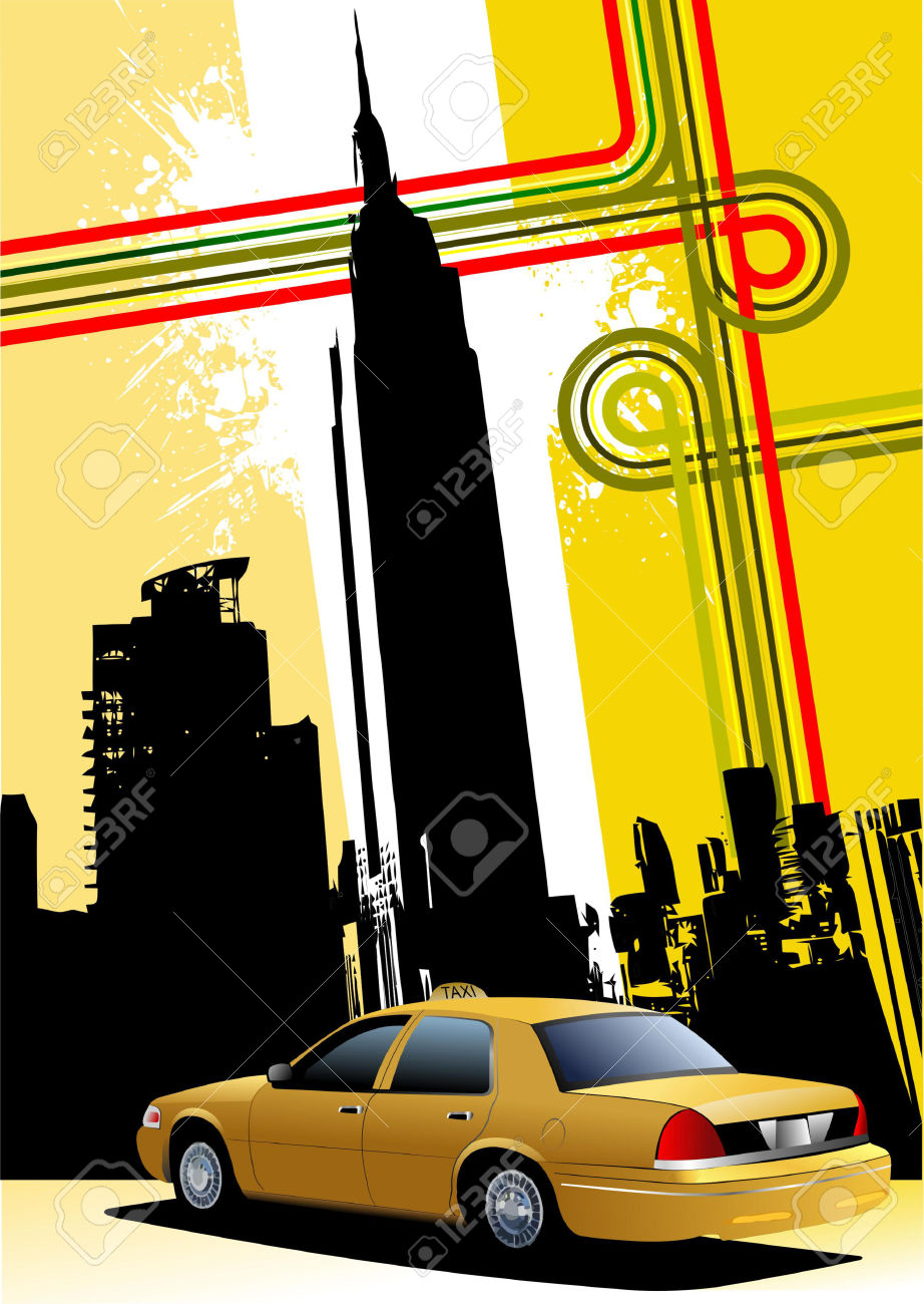 Cover For Brochure With New York And Taxi Cab Images Royalty Free.
