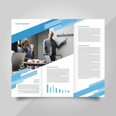 Flat Modern Professional Blue Brochure Vector Template.