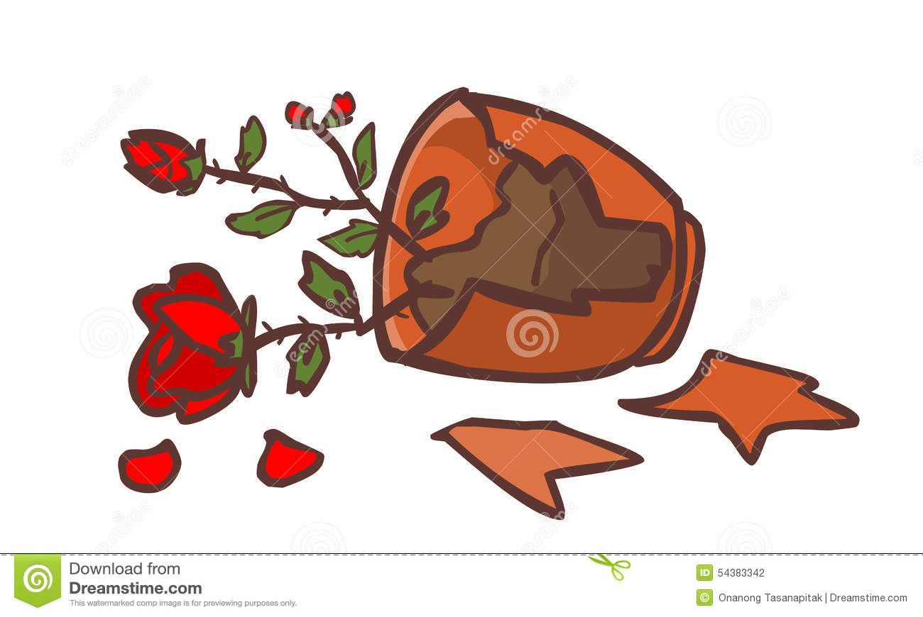 Broken Red Rose Pot On The Ground Stock Vector.