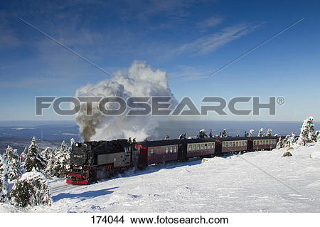 Stock Photo of Brocken Railway on the summit of the peak Brocken.