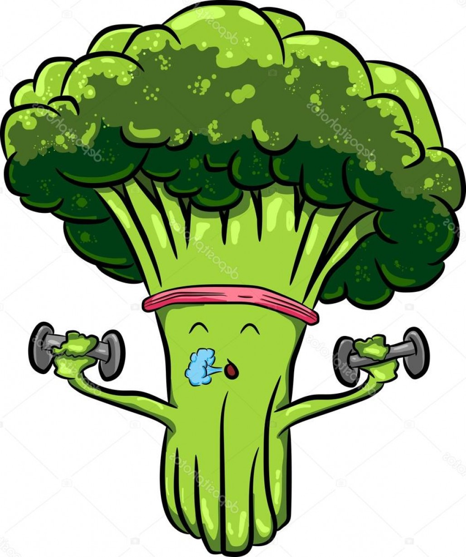 Stock Illustration Beautiful Bright Cartoon Broccoli Engaged.