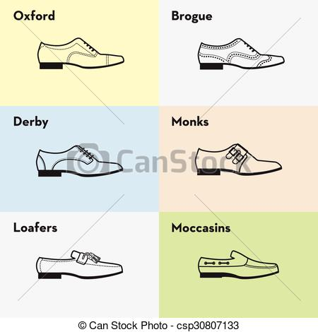 Vectors of Vector graphic set icons of flat classical men's shoes.