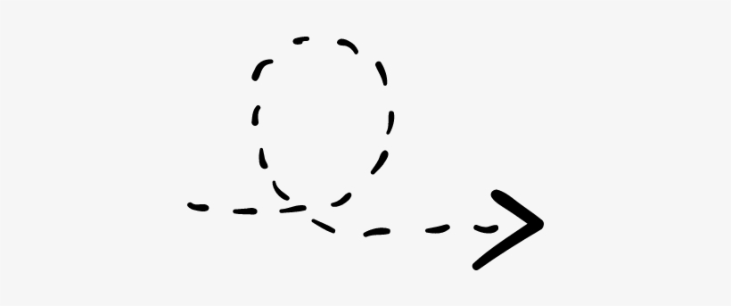 Rotated Right Arrow With Broken Line Vector.