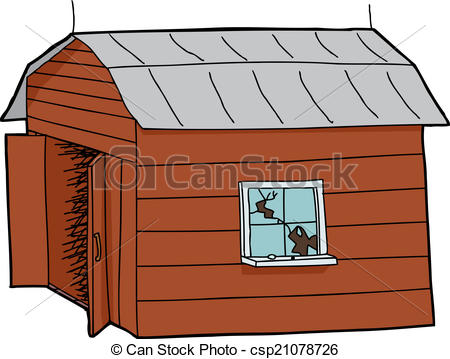 Vector Illustration of Isolated Old Barn.