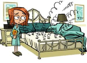 Cartoon broken bed.