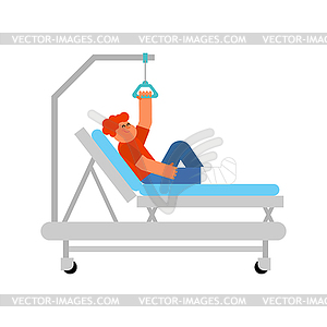 Child on Hospital bed. Boy with broken leg. kid.