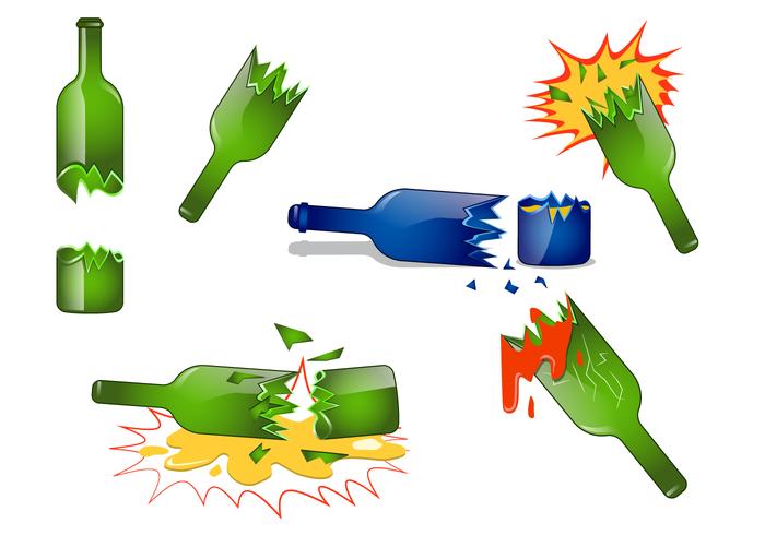 Realistic Broken Bottle Vector.