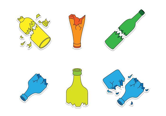 Broken Bottle Cartoon Vectors.