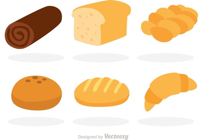 Vector Bread Flat Icons.