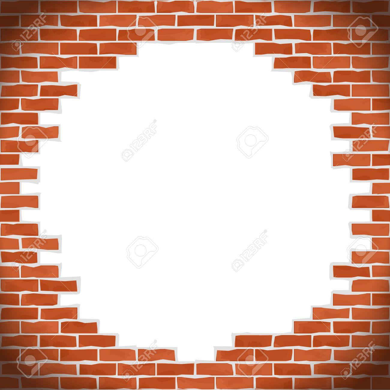 Broken brick wall.