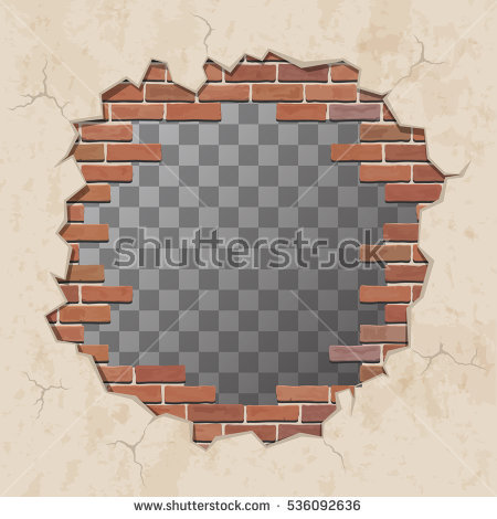 Download Free png Red broken brick wall with ho.
