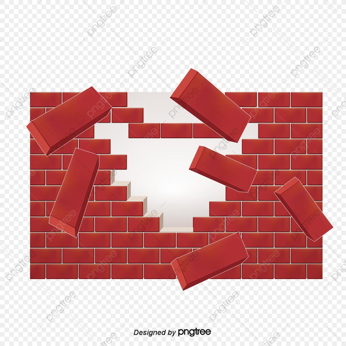 Vector Broken Brick Wall Effect, Vector, Yellow, Brick Wall PNG and.
