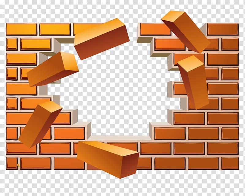 Broken wall bricks illustration, Brick Wall Euclidean , broken brick.