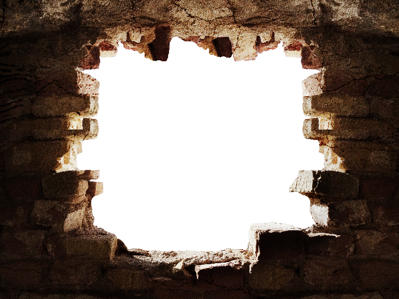 Broken Stone Wall With Hole PNG Background.