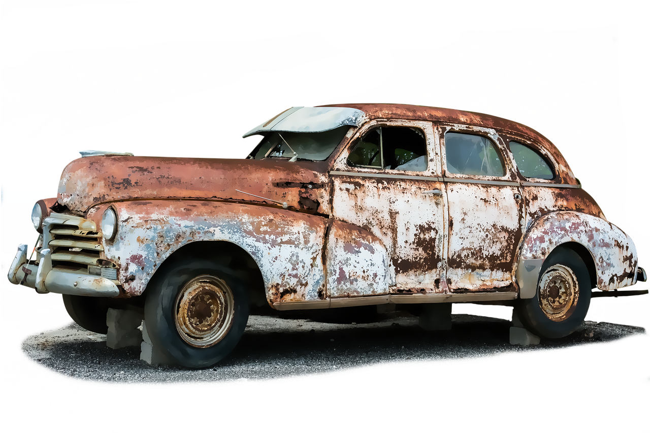 Auto Old Broken Scrap Stainless PNG.