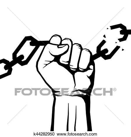 Breaking chain protest, rebel vector poster Clipart.