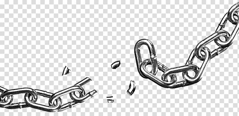 Silver chain illustration, Icon, Broken chain transparent background.