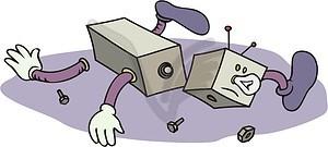 Broken robot clipart.