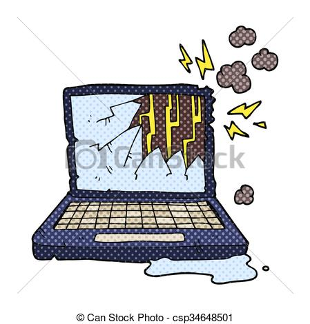 Freehand drawn cartoon broken computer..